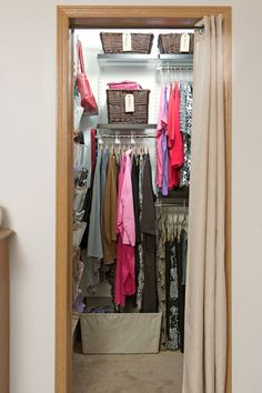 Customize for less: Rip out your closet's single-rod system and installa new Elfa closet system from The Container Store. The biggest benefits? Multiple double-hang rods, handy shelves and baskets from Walmart and, best of all, portability—you can take the system with you when they move out of a rented house. Click through to find more easy closet organization ideas for a small space.