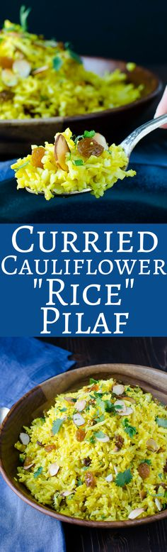 """Curried Cauliflower """"Rice"""" Pilaf is an easy, delicious, healthy side dish! Make it easier with Trader Joe's cauliflower rice. Paleo & Vegan too!"""