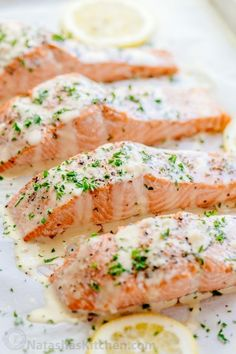 Oven Baked Salmon with flavorful and simple lemon cream sauce. Lemon beurre blanc, will be your secret weapon for seafood recipes. Gourmet flavors at home! Baked Salmon Lemon, Oven Baked Salmon, Baked Salmon Recipes, Fish Recipes, Seafood Recipes, Dinner Recipes, Cooking Recipes, Healthy Recipes, Sauces For Baked Salmon