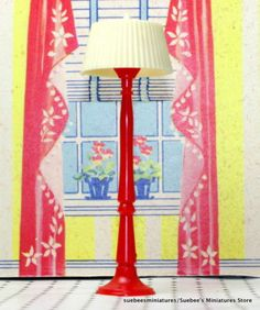 RED-FLOOR-LAMP-by-RENWAL-Vintage-Dollhouse-Furniture-Accessory-3-4-FITS-IDEAL