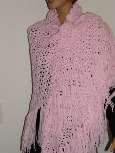 Large Sized Hand Crocheted Soft pink prayer shawl for breast cancer patients