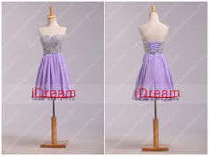 A Line Mini Sweetheart Chiffon With Beads Color Lilac Homecoming Dresses