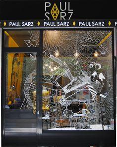 Paul Sarz Window display design in AthensPhotos by Angelos Ripper white marker summer 2013 Window Art, Window Panes, Window Film, Window Display Design, Window Displays, Retail Windows, Shop Windows, Window Graphics, Retail Store Design