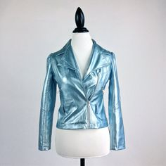 90's Pastel Baby Blue Metallic Faux Leather by FeelingVagueVintage