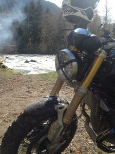 In the dirt... on our RnineT.