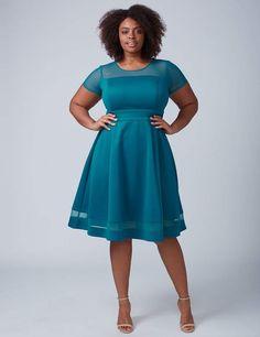 f36f9df252a7e Lane Bryant Mesh-Sleeve Scuba Fit & Flare Dress Scuba Fabric, Fit Flare  Dress