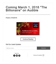 """Coming March 1, 2018 """"The Billionaire"""" on Audible"""