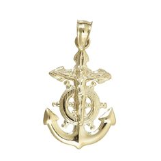 14K Yellow Gold Religious Nautical Cross Wheel & Anchor Dangling Pendant. 14K SOLID GOLD: This product is made of solid 14K gold and each piece is carefully trademarked with the metal purity for certification. Each piece is stamped 14K or 585 and that guarantees the quality and craft. DESIGN & FINISH: We understand gold and we really understand the manufacturing process of precious metal. Each piece is carefully designed to create a treasure that will last a lifetime. These jewels make a...
