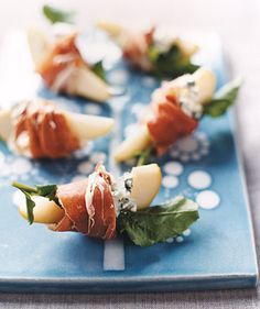 Pears with Blue Cheese and Prosciutto by Real Simple. These elegant party appetizers take just 10 minutes to prepare.