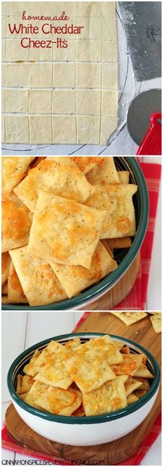 Homemade White Cheddar Cheez-Its.  I want to know if these are good so I will pin and try.