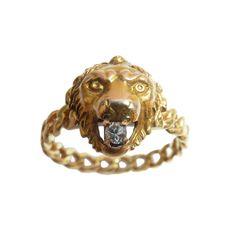 Antique Lion Head Ring With Diamond, Leo Ring, Horoscope Ring by AntiqueAnimalJewelry on Etsy https://www.etsy.com/listing/263077187/antique-lion-head-ring-with-diamond-leo