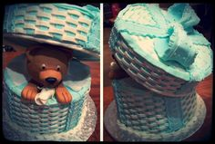 Bear in a Blue and white Basket Decorated Chocolate Cake