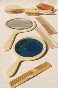 Lot of antique celluloid vanity table things. brushes, combs, a couple of hand mirrors. Vintage Vanity, Hair Brush, Vintage Home Decor, French Antiques, Brushes, Mirrors, Ivory, Mirror, Blushes
