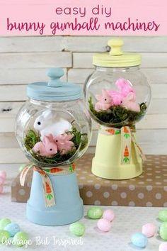 spring bunnies diy gumball machine craft, crafts, easter decorations, seasonal holiday decor