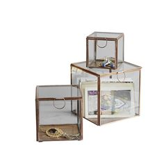 Rigby & Mac Set Of Three Copper Framed Glass Boxes - Trouva