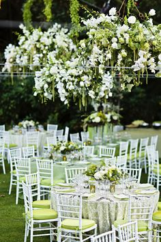Floral Chandeliers for Outdoor Wedding Receptions