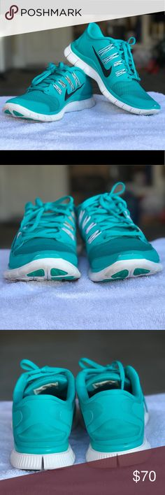Women's Nike Free 5.0 Tiffany Blue Size 8.5 Nike Free 5.0 in women's size 8.5. Colorway: turbo green/black nike symbol, white trimming. Used, but in good condition! However, the left shoe is missing a small white trim at the front (zoom in the photos). Selling since It does not fit anymore, and collecting dust. Purchase now! I don't see this sold anywhere. Comes with original box. No trades. Nike Shoes Sneakers