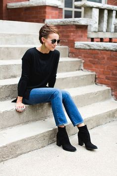 short hair side braid. ankle boots, boot cut cropped denim, cropped denim, sweater