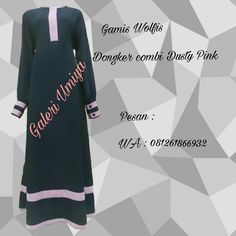 Gamis Polos Dongker list Dusty Pink