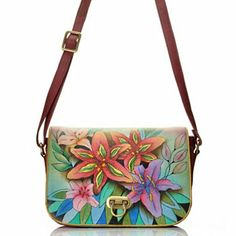 dece54c7e32 Anuschka Hand-Painted Leather Flap Over Accordion Style Cross Body Bag  Leather Carving