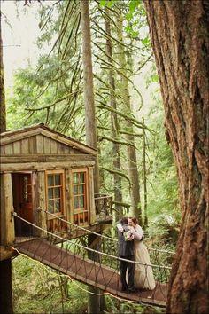 A treehouse wedding from Women's TEA TIME. Sort of like a modern Tarzan and Jane. https://www.facebook.com/photo.php?fbid=507357155989376=a.309530339105393.70452.308905965834497=1