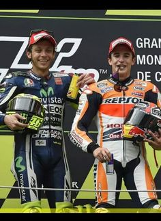 Valentino Rossi and Marc Marquez on the podium at Catalunya 2014 The master and the apprentice!