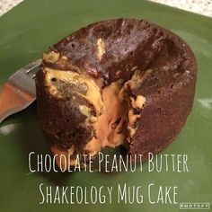 Chocolate Peanut Butter Shakeology Mug Cake!!! I've been thinking about this little baby all day! It was SO EASY and I mean come on... protein for dessert? I'll take it! 1 scoop chocolate Shakeology 1 egg 1 tsp natural peanut butter Water Whisk egg add shakeo add water until mixture reaches cake mix-like consistency (this is uncalculated science just follow me here). Pour half of your mix into a mug add peanut butter cover peanut butter with remaining cake-ish mix. Microwave for one minute…