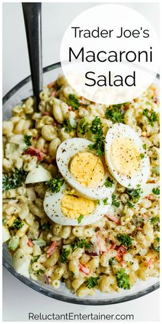 This Trader Joe's Macaroni Salad Recipe is an anytime salad! It's great for holidays, potlucks, and picnics. Make with bread and butter pickles! Pasta Recipes, Salad Recipes, Dinner Recipes, Cooking Recipes, Mac Salad Recipe, Keto Recipes, Best Macaroni Salad, Macaroni Pasta, Pasta Dishes