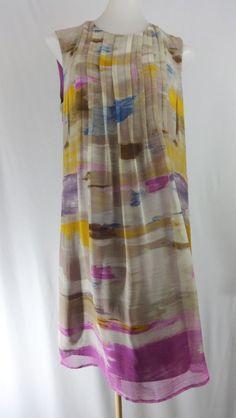 CALVIN KLEIN 8 Gray Purple Sleeveless 100% SILK Above the Knee Tunic Dress #CalvinKlein #Tunic #WeartoWork