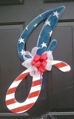 Wooden Letter J Patriotic Door Hangers by RKDragonfly on Etsy,