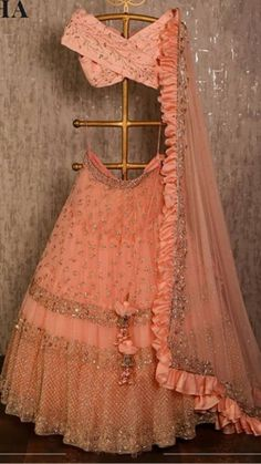 dress Indian party wear - Peach net lehenga choli dupatta party wear wedding wear indian dress custom stitched made to order dress for women's. Indian Lehenga, Net Lehenga, Bridal Lehenga Choli, Anarkali, Bollywood Lehenga, Lehenga Wedding, Lehenga Gown, Bollywood Dress, Bollywood Wedding