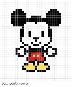 Mickey Mouse perler bead or pixel crochet blanket -Trista Cross Stitching, Cross Stitch Embroidery, Cross Stitch Patterns, Pixel Pattern, Pattern Art, Hama Beads Patterns, Beading Patterns, Pixel Art Mickey, Pixel Art Kawaii
