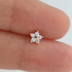 Star Flower Cartilage Piercing Sterling in Silver & Gold Helix Earrings, Bar Stud Earrings, Gold Hoop Earrings, Cartilage Earrings, Cute Ear Piercings, Cartilage Piercings, Star Wars, Unusual Jewelry, Star Flower