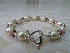 Glass pearl/amethyst crystal elasticated bracelet by JewelInfinityBeyond on Etsy
