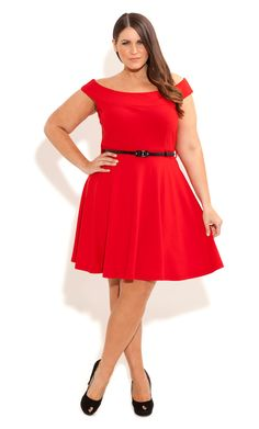 City CHic - BRIDGETTE SKATER DRESS - Women's plus size fashion