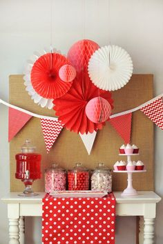 """Roses are red, violets are blue, we LOVE our """"Be My Valentine"""" party and hope you do too! Valentine's day party desert table on the Tiny Prints blog."""