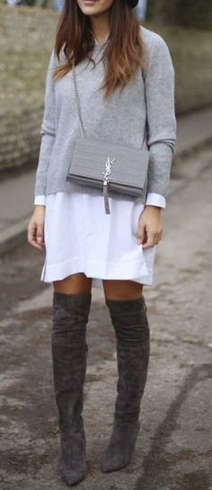 Street style   Grey sweater over white blouse dress and over the knee boots