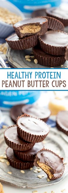Healthy Protein Peanut Butter Cups made with oat flour, raw honey, natural peanut butter and dark chocolate. You get all the deliciousness with a fraction of the sugar and calories. Yum! Plus there is added protein for a great snack. #ad - Eazy Peazy Mealz