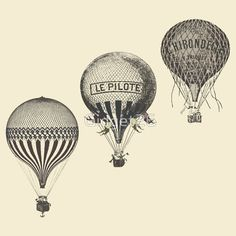 vintage hot air balloon drawings - Google Search