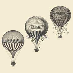 vintage hot air balloon drawings - Google Search