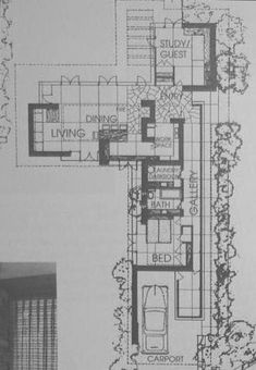 Alvin Miller House - Page 2 - Wright Chat Vintage House Plans, Modern House Plans, Usonian House, Frank Lloyd Wright Buildings, Small Floor Plans, Architecture Concept Drawings, Miller Homes, Beach House Plans, House Blueprints