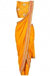 Saffron embroidere border drape saree with embellished blouse and pants available only at Pernia's Pop Up Shop. Salwar Kameez, Dhoti Saree, Saree Gown, Anarkali, Lehenga, Indian Wedding Outfits, Indian Outfits, Latest Designer Sarees, Designer Dresses