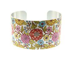 Cuff bracelet, women's jewellery, feminine floral bangle, colourful flowers C118 £19.80