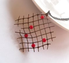Contemporary jewelry, copper wire pendant,  wire jewelry, red beads, christmas gift, funky, Pearler