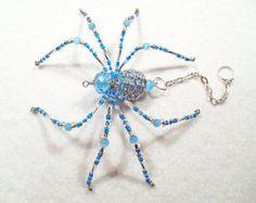 Skylar aqua blue and silver glass beaded by MossandStoneStudio
