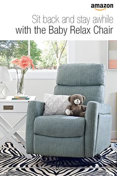 Baby Relax Alexis Swivel Gliding Recliner in Dove Gray.