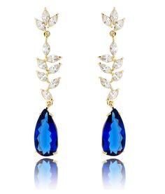 brinco dourado azul longo de festa semijoias de luxo Ring Bracelet, Ring Earrings, Bracelets, Diamond Jewelry, Gold Jewelry, Hair Ornaments, Fashion Accessories, Bling, Pendants