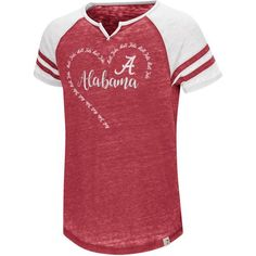 Colosseum Athletics Girls' University of Alabama The Babe Raglan T-shirt (Red Medium, Size Small) - NCAA Licensed Product, NCAA Youth Apparel at Ac...