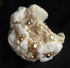 Bead embroidered bridal cuff