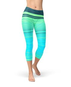 4b14022511b0b2 Ombre Workout Leggings | Mint Green Yoga Pants | Yellow Striped Printed  Leggings Women | Sport Capri Leggings | Soft Stretch Workout Pants